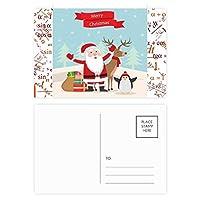 クリスマスのサンタクロースのヘラジカペンギン祭り 公式ポストカードセットサンクスカード郵送側20個