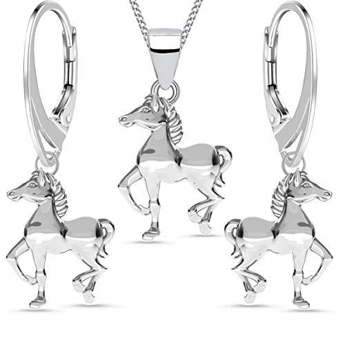 FÜR DICH Pferde Geschenk-Set aus 925 Sterling Silber Mädchen Kinder Pferde Ohrringe Anhänger mit Kette 38 cm