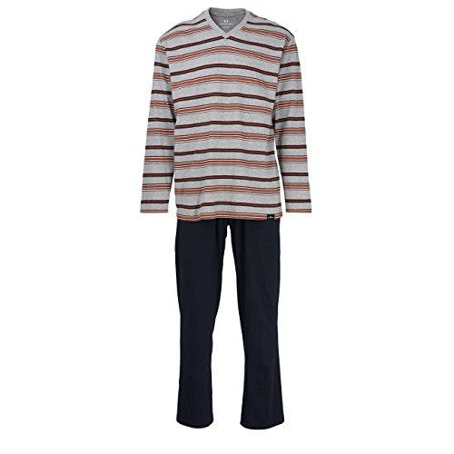 Götzburg Herren Pyjama, Schlafanzug, Shirt und Hose, Langarm, Baumwolle, Single Jersey, grau, gestreift 48