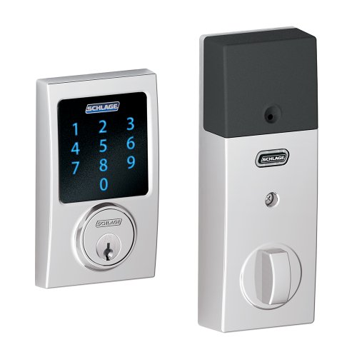 Schlage BE469NXCEN625 Century Touchscreen Deadbolt with Nexia Home Intelligence and Alarm, Bright Chrome, Z-Wave (Works with Amazon Alexa)