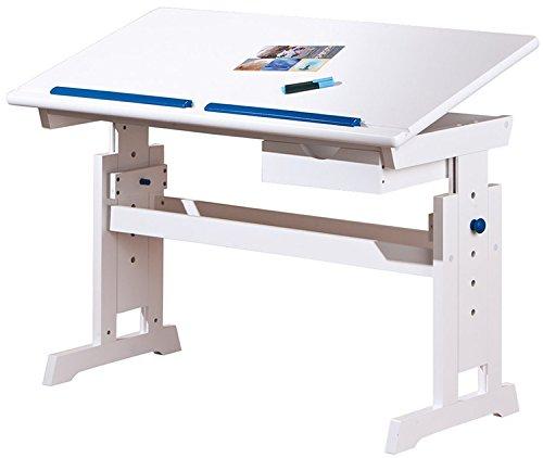 PEGANE Bureau Enfants Blanc/Rose et Bleu en MDF/Bois Massif avec 1 tiroir, Dim : 109 x 55 x 63/88 cm
