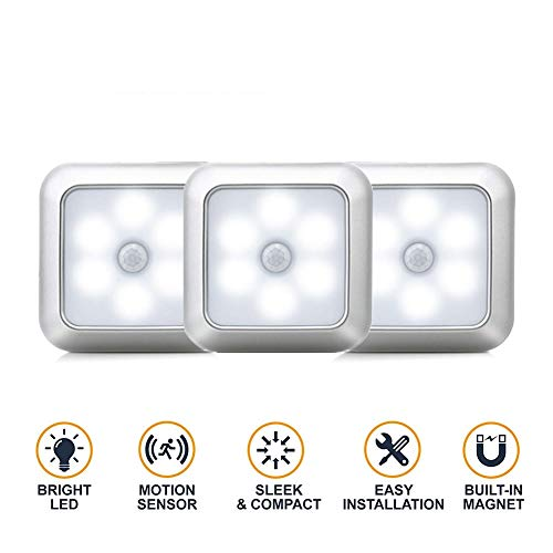 HS-HWH219 6 LED plaats-bewegingssensor-nachtlampjes PIR inductie onder kastlicht wandkastlamp batterijvoeding voor trappen keuken slaapkamer (1 pak)