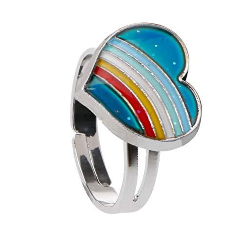 Faguo Regenbogen Herz Stimmung Ring Temperatur Emotion Gefühl Ringe einstellbar für Frauen