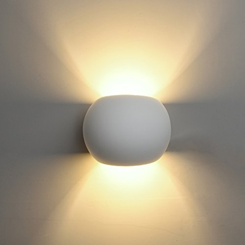 DECKEY LED Gips Wandleuchte kugelförmige Gipsleuchte modernes Design mit einer ersetzbaren G9 LED Stiftsockellampe 3W warmweiß indirektes Licht