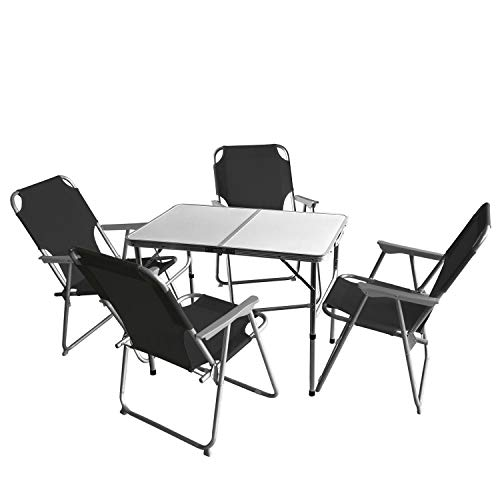 Wohaga 5tlg. Campingmöbel Set Campingtisch 'Bergen', Aluminium, 90x60cm + 4X Campingstuhl, Schwarz/Strandmöbel Campinggarnitur Gartenmöbel