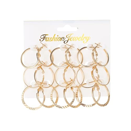 ZLHZYP arete, 9 pares de pendientes de aro de círculo grande de color dorado para mujer, pendientes redondos lisos de aro, estilo punk, bucle de oreja, discoteca, joyería para mujer, color dorado