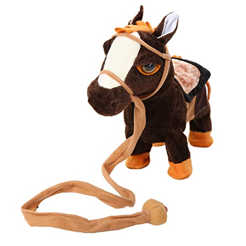 TOYANDONA 1Pc Walking Plüschtier, Musikalisches Singen Und Tanzen Pferd Stofftier Plüsch Pony Spielzeug für Kinder (Ohne Batterie, Dunkelbraun)