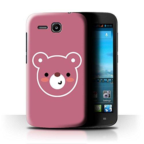 Stuff4® Hülle/Hülle für Huawei Ascend Y600 / Teddybär Kunst Muster/Niedliche Minimalistische Tiere Kollektion