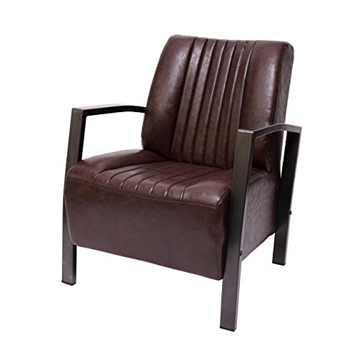 Mendler Sessel HWC-H10, Loungesessel Polstersessel Relaxsessel, Metall Industriedesign ~ Vintage braun
