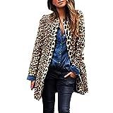 LUCKYCAT Leopardo de Las Mujeres Sexy Winter Warm New Wind Coat Cardigan Leopard Print Long Coat (Marrón, X-Large)