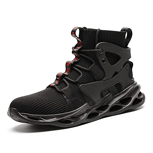 YUANB Moda transpirable de alta parte superior anti-aplastamiento anti-perforación de acero dedo del pie de trabajo zapatos de seguridad zapatos negro-47