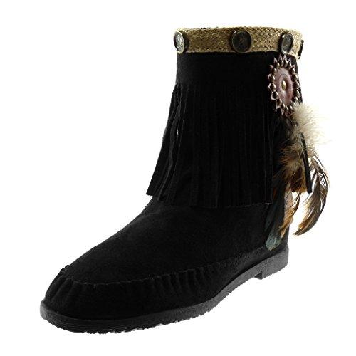 Angkorly - Damen Schuhe Stiefeletten Stiefel - Mokassin Stiefel - Folk - Slip-On - Fransen - Feder - Nieten - besetzt Blockabsatz 1.5 cm - Schwarz M866 T 38