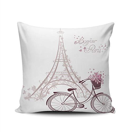 Pamela Hill Fundas de Almohada romántica Torre Eiffel de París y Bicicleta Funda de cojín de Funda de Almohada Cuadrada de 20x20 Pulgadas Diseño de Doble Cara Impreso