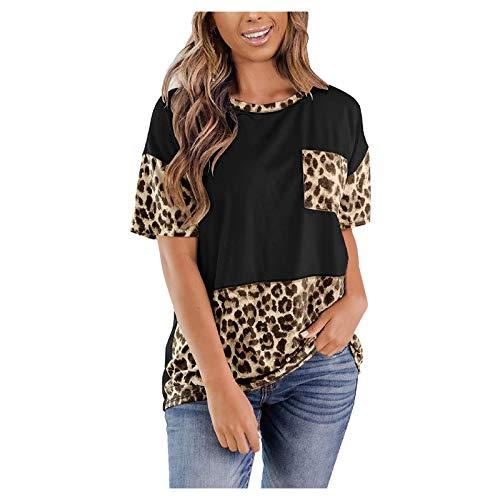 YANFANG Camiseta Tops Basic Top Holgada Informal con Estampado de Leopardo de Manga Corta con Cuello Redondo para Mujer con Bolsillo