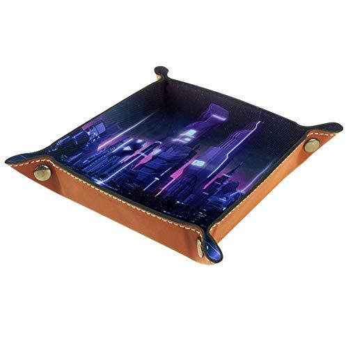 XJJ&USC Futuristic City Valet Tray Organizer - Leather Nightstand Dresser Top Box, Wallet, Phone, Keys