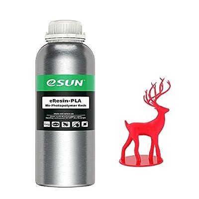 eSUN Plant-based 3D Printer Rapid Resin, LCD UV-Curing Resin 405nm Biodegradable PLA Resin for Photon LCD 3D Printer Photopolymer Resin Liquid 3D Resin, 1000g Red