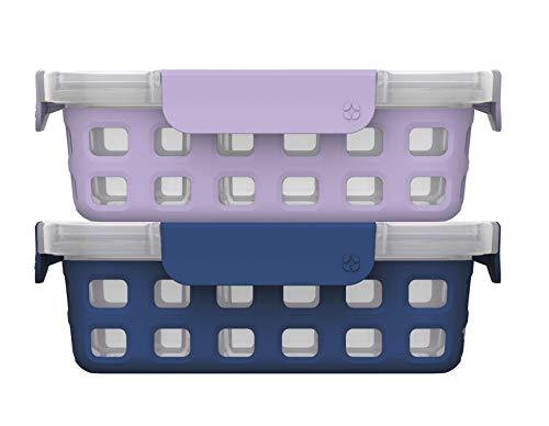 Ello Plastic Divided Container Food Storage Portion Control Set with Locking Leak-Proof Lids 2 Set 4 Cup PurpleBlue