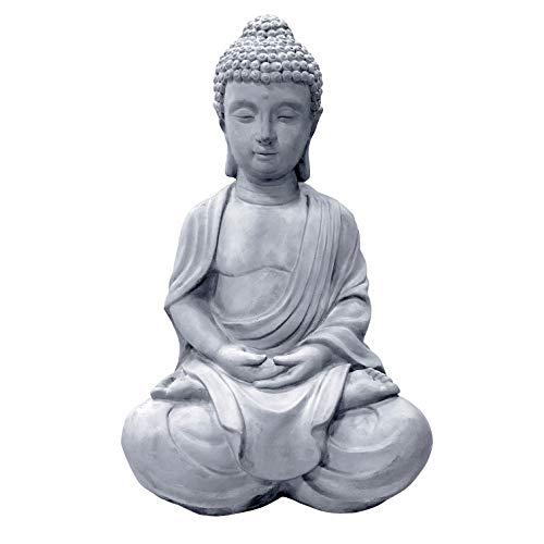 Kante R141006-C80021 Lightweight Sitting Meditating Buddha Zen Indoor Outdoor Statue, Natural Concrete
