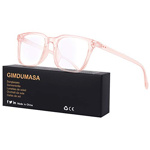 Gimdumasa Blaulichtfilter Brille Computerbrille Pc Gaming Bluelight Filter Uv Blueblocker Glasses Anti Damen Herren Ohne Stärke Entspiegelt (Rosa)