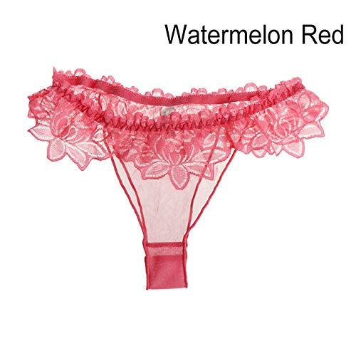 sakkdaull 3pcs floral Panties Women lace Briefs Underwear Lace Lingerie G String Briefs Panties Watermelon Red 3pcs