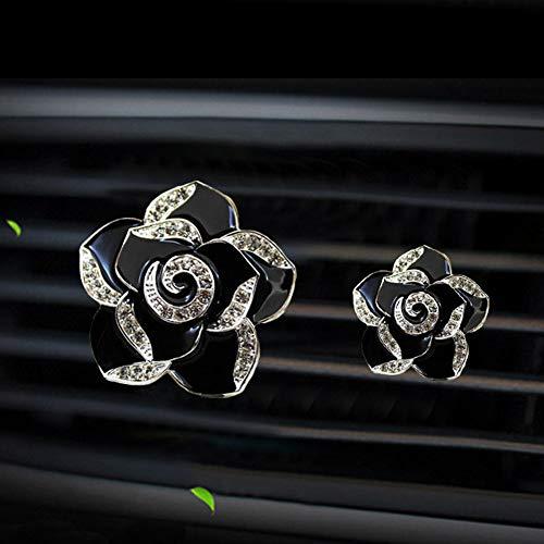 Charm Car Air Vent Clips Bling Car Accessories for Women Rhinestone Crystal Car Interior Decoration Auto Cute Decor Set (Flowers Black)