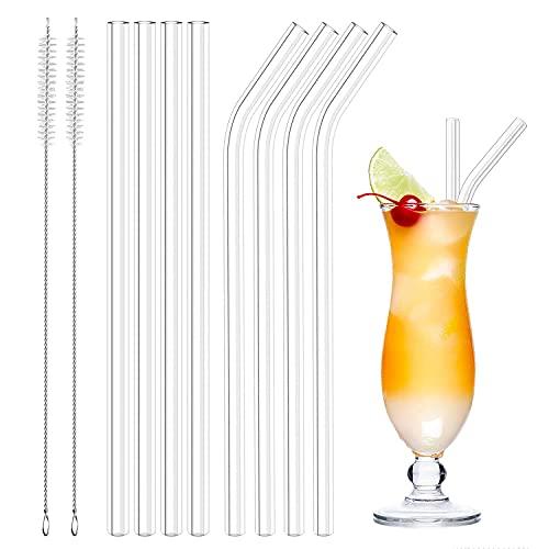 Set cannuccia di vetro, 8 Pezzi Cannucce in Vetro riutilizzabili, Cannucce di Vetro Trasparenti, con 2 spazzole per la pulizia, per bicchieri da cocktail, succo di frutta e frullati