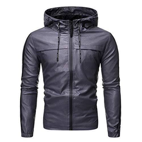 Men Jacket Zipper Slim Fit Bomber Jacket Faux Leather Windproof Jacket Spring and Autumn Outdoor Trendy Leisure Jacket Elegant Men Transitional Jacket A-Gray XL