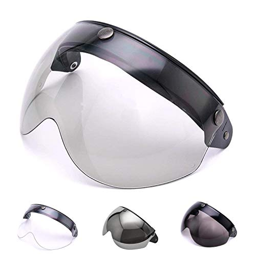 MotorFansClub Universal 3 Snap-Button Visor Fit For Compatible With Helmet