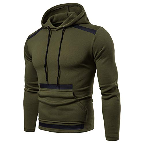 Mr.BaoLong&Miss.GO Autumn and Winter New Men's Stitching Sweater Solid Color Pullover Hoodie Men's Large Size Trendy Sweater Green