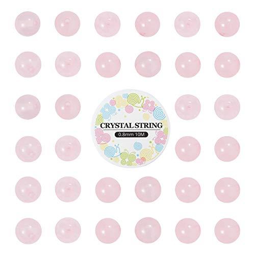 Stiesy DIY pulsera elástica de cuarzo rosa natural para hacer kits de 6 mm redondos sueltos Gmemstones con hilo de cristal elástico de 0,8 mm para hacer joyas