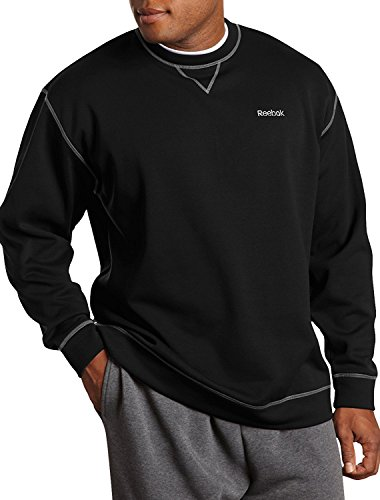 Reebok Big and Tall Play Dry Fleece Crewneck (4XL, Black)