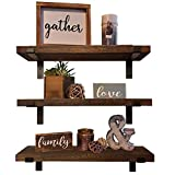 Ty Creations Wall Mounted Floating Shelves Set of 3, Rustic Wood Decorative Wall Storage Shelves with Metal L Bracket for Kitchen, Livingroom, Bedroom, Bathroom and Office