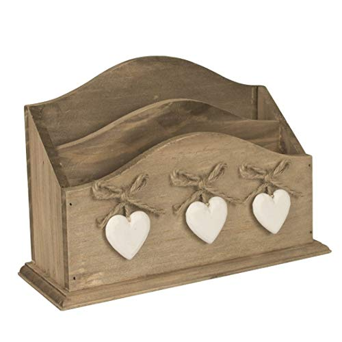 Dibor - French Style Accessories for the Home Shabby Chic Holz Buchstabe Schreibtischset BxHxT 21 x 14 x 7,5 cm, Landhausstil