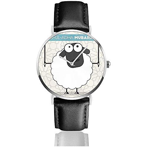 Niedliche Schaf-Fahne an den islamischen Feiertagen Edelstahl-Lederarmband passt Armbanduhren auf