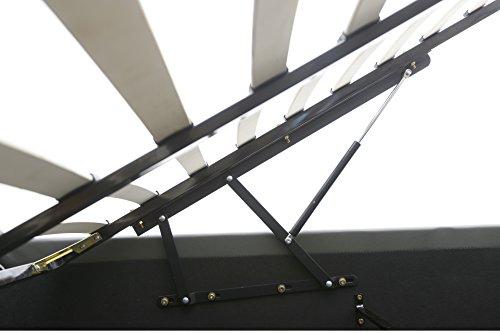 Bett – 140×190 – weiß – Bettgestell mit Aufbewahrung – Bettkasten Inhalt 798 Liter – Material A++ Qualität Lederoptik – Funktionsbett – Stahlrahmen mit Holz – Lattenrost - 6