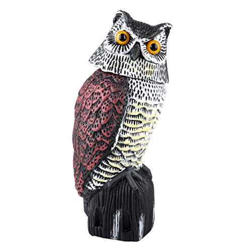 Plastic Owl Scarecrow Sculpture with Rotating Head for Garden Yard Outdoor