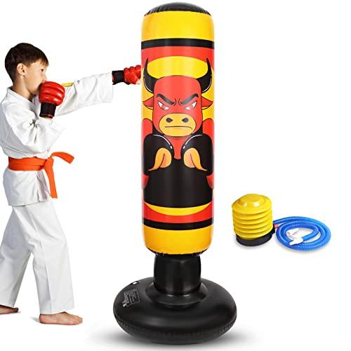 Nabance Saco de Boxeo Hinchable de Pie para Niños, 150cm Columna Tumbler Saco de Arena, Saco de Arena Inflable para Niños y Adultos, con Una Bomba de Pie y Un Parche de reparación