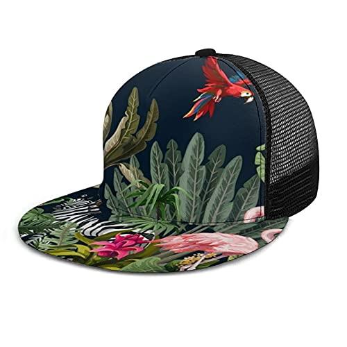 Gorra de béisbol unisex con diseño de cuadros impresos planos de la selva, animales de la selva, flores, árboles, patrón de verano, ajustable, empalme, hip hop, sombrero de sol negro