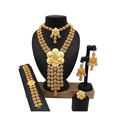 XJTJSM Conjunto de Joyas Grandes africanas, Conjunto de Joyas de Fiesta de Novia de Boda, joyería Fina Conjuntos de Mujeres africanas Collar de Moda Pulsera (Color : 12)