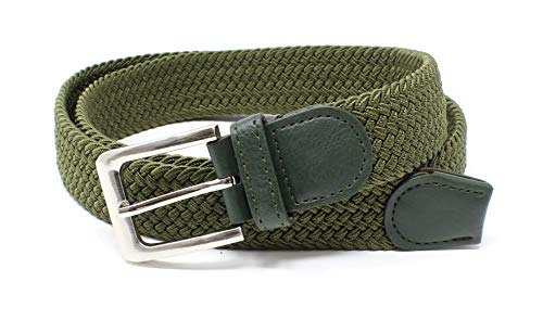 Mens Braided Elastic Stretch Belt Leather Tipped End and Silver Metal Buckle (Olive-M)