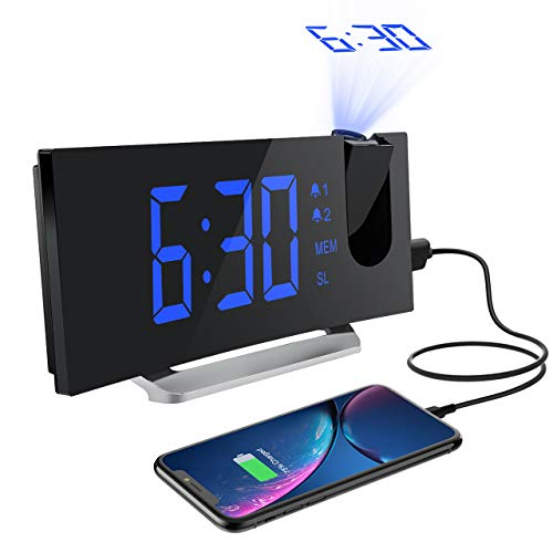 Mpow Projektionswecker, Radiowecker mit Projektion, Wecker Digital, Dual-Alarm, 4 Alarmtöne mit 3 Lautstärke, 15 FM Radiosender, USB-Anschluss, 6 Display-/4 Projektionshelligkeit, Snooze(Inkl.Adapter)