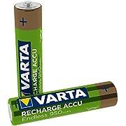 Batteria VARTA Recharge Endless, ricaricabile - fino a 3500 ricariche, bassa autoscarica, batteria precaricata Ready-To-Use AAA Micro Ni-MH (pacco da 2, 950mAh) - ricaricabile senza effetto Memory