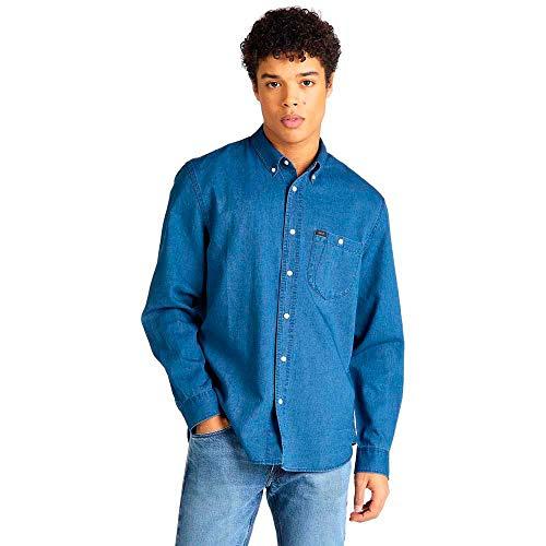 Lee Riveted Shirt Camisa, Azul (Washed Blue LR), Large para Hombre