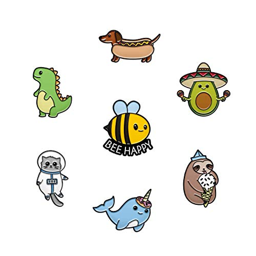 RipGrip 7 Cute Pins for Kids - Enamel Pins for Backpacks Cute Pins for Jackets Enamel Pin Set for Bookbags Dinosaur Lapel Pin & Other Animal Enamel Pins Included (Set 8)