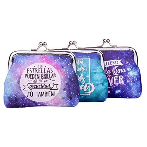 """Lote de 20 Monederos""""UNIVERSO"""" Galaxia con Frases - Monederos Originales y Baratos para Detalles de Bodas, Bautizos, Comuniones y Fiestas de Cumpleaños"""