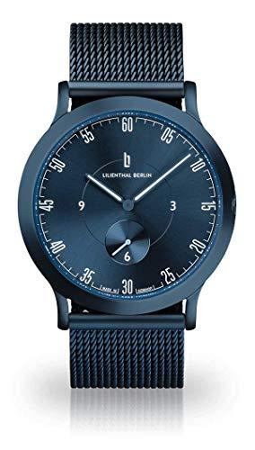 Lilienthal Berlin Unisex Armbanduhr L1 | Prämiertes Design | Qualität Made in Germany mit Lederarmband (groß 42,5mm, L1 All Blue/Armband: mesh blau)