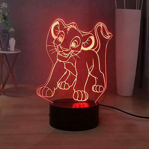 3D Illusion Lampe Led Veilleuse L'USB Pour Enfants Dessin Animé Simba Chambre Décoration Enfants D'anniversaire Cadeau De Vacances Jungle King Bureau