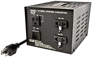 VCT VT-2000J Japan 100 volt to USA 110 volt voltage converter transformer, 2000 WATT, Black