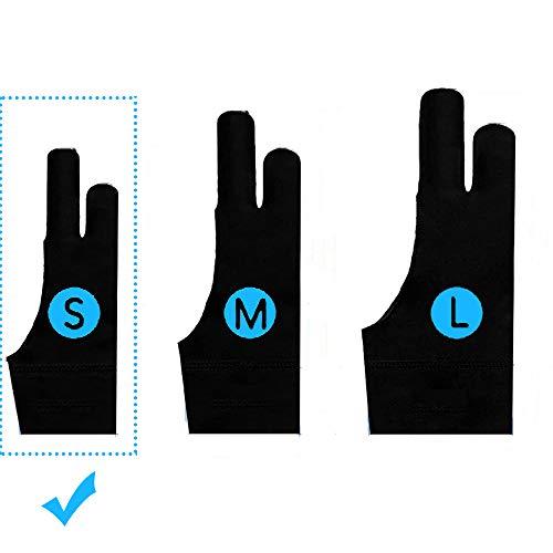 TNTOR Elastisch Antifouling Handschuh, Zwei-Finger-Handschuh für Grafiktablett Light Box Tracing Light Pad, Tablet Zeichenhandschuh Geeignet für Rechts und Links (S)
