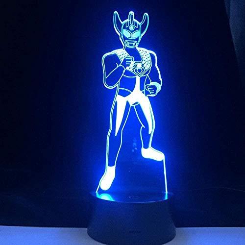 Superman 3D luz de noche LED diapositivas de colores USB táctil control remoto lámpara de escritorio decoración del dormitorio del hogar juguete de regalo especial para niños